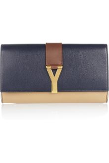 Yves Saint Laurent Chyc Leather Clutch - Lyst