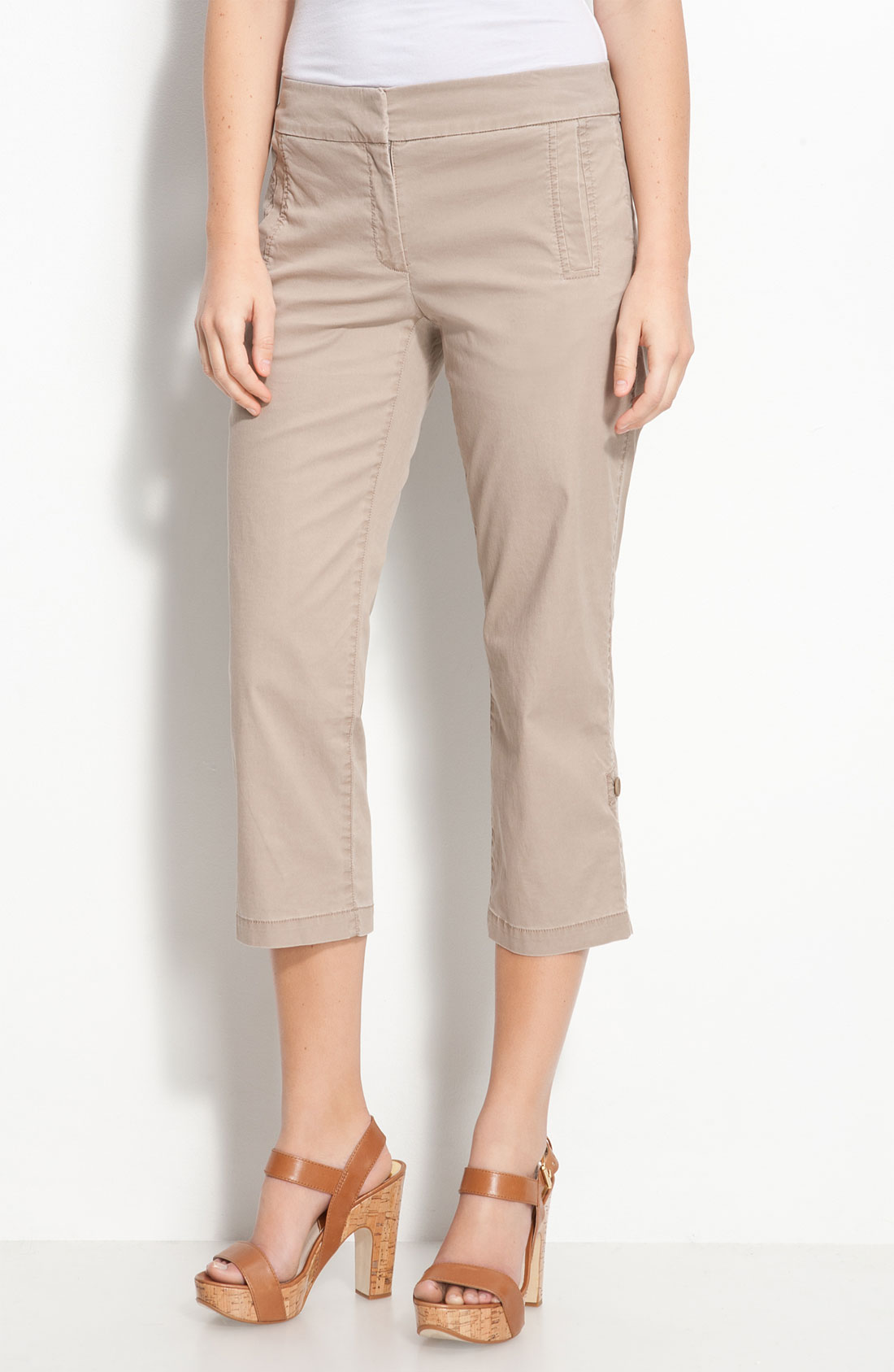 EILEEN FISHER NEW Tan Twill Convertible Cuffed Capri Pants Petites ...