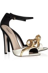 Giambattista Valli Chain Bow Color-block Satin Sandals - Lyst