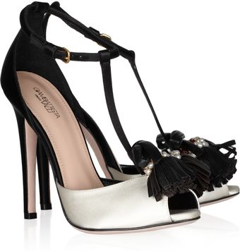 Giambattista Valli Embellished Satin Peep-toe Sandals - Lyst