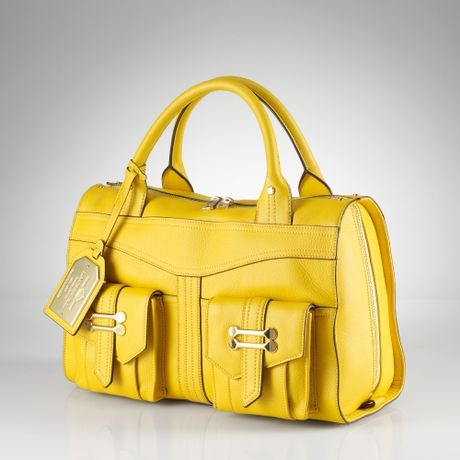 Lauren By Ralph Lauren Bermondsey Leather Zip Satchel in Yellow (solaire) - Lyst