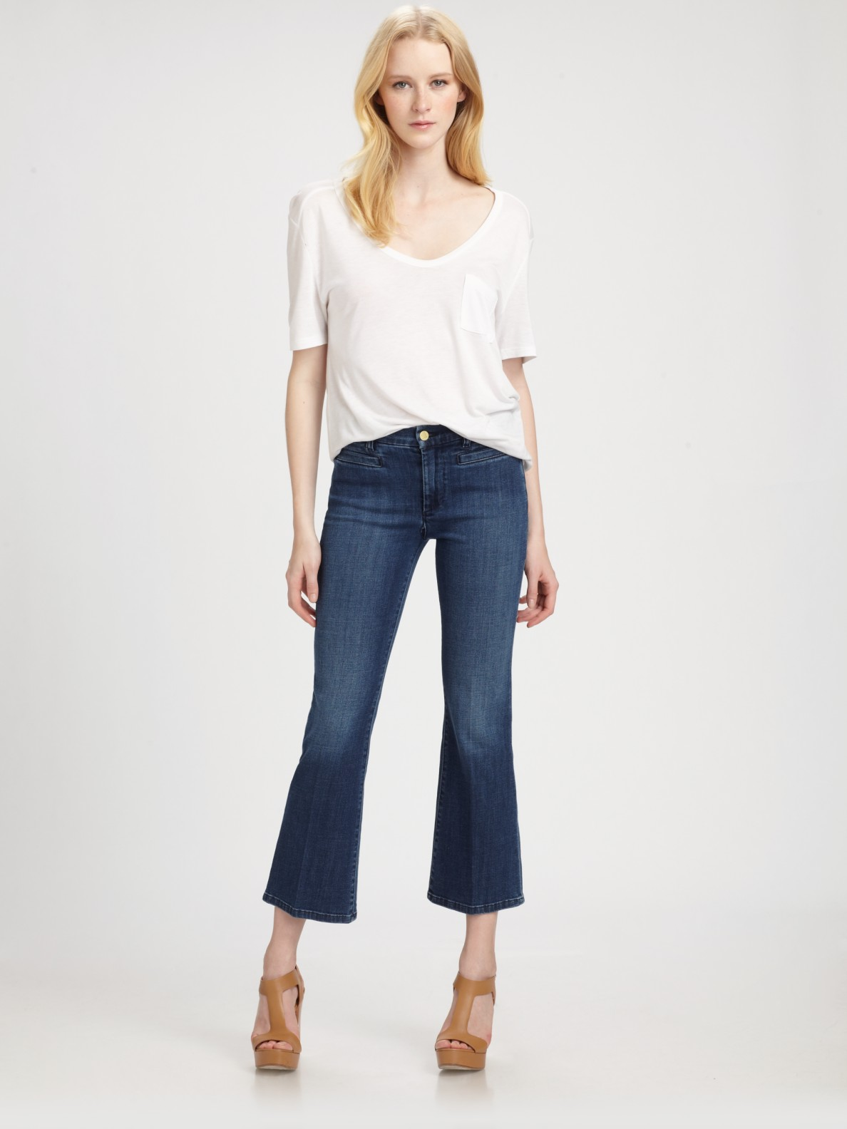 M.i.h jeans Monaco Cropped Kick Flare Jeans in Blue | Lyst