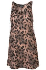 Topshop Animal Fluffy Vest - Lyst