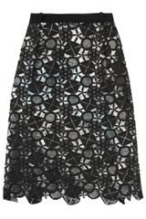 Preen Latex Lace Lined Skirt in Black - Lyst