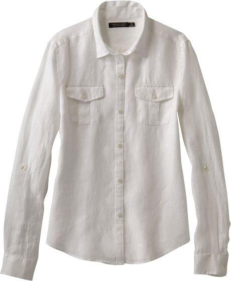 Uniqlo women premium linen long sleeve shirt in white lyst for Uniqlo premium t shirt
