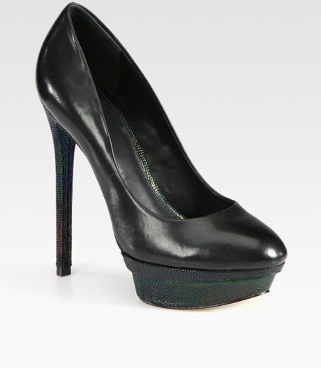 B Brian Atwood Stingrayprint Leather Platform Pumps in Black - Lyst
