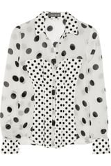 Callula Lillibelle Vivian Polka-dot Chiffon and Stretch-cotton Shirt