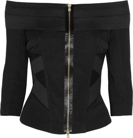 Donna Karan New York Stretchjersey and Linenblend Top in Black - Lyst