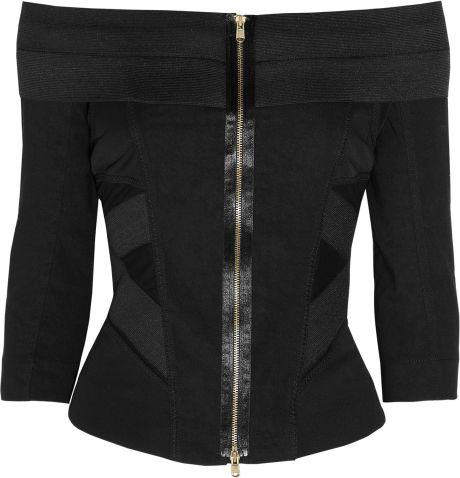 Donna Karan New York Stretch-jersey and Linen-blend Top in Black