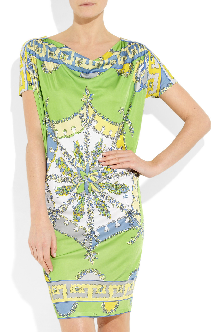 Emilio Pucci Printed Jersey Dress In Green Multicolored