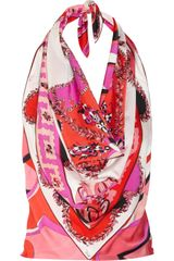 Emilio Pucci Printed Silk-charmeuse Handkerchief Top