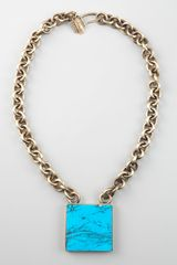 Kelly Wearstler Square Turquoise Pendant Necklace - Lyst