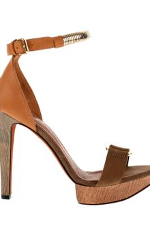 Lanvin Satin-finished Camel Calfskin Sandals with Wooden Heel and Platform - Lyst