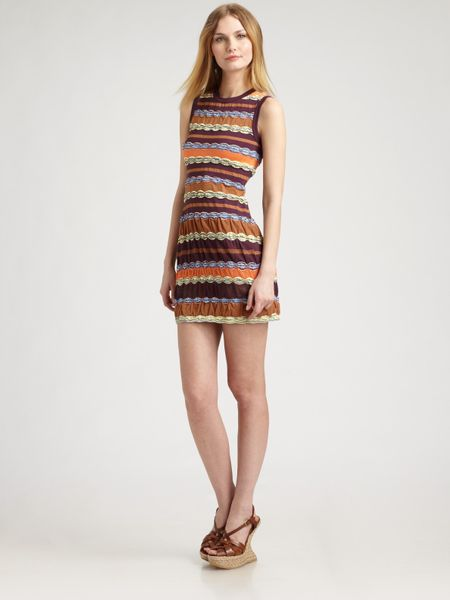 M Missoni Striped Tank Dress in Brown (eggplant) - Lyst