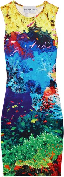 Mary Katrantzou Fish Print Sleeveless Jersey Dress - Lyst