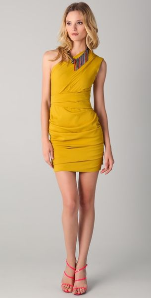 Matthew Williamson Bandage Dress in Yellow (mustard) - Lyst