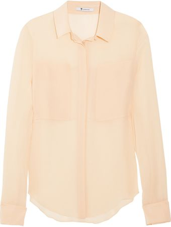 T By Alexander Wang Paneled Silk Shirt - Lyst