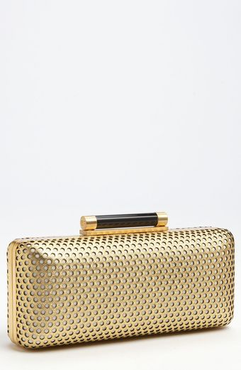 Diane Von Furstenberg Tonda Perforated Metallic Leather Clutch - Lyst
