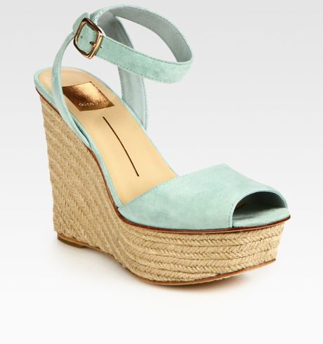 Dolce Vita Suede Platform Espadrille Wedge Sandals In