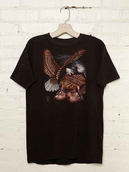 Free People Vintage Harley-davidson Eagle Tee in Black - Lyst