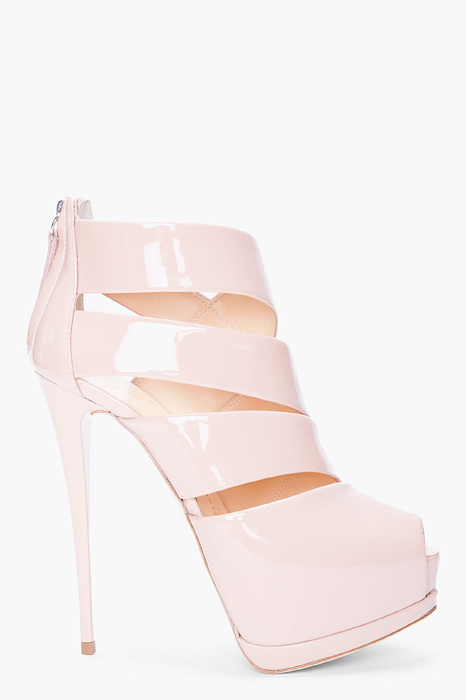 Lyst Giuseppe Zanotti Glossy Nude Patent Heels In Natural Gallery