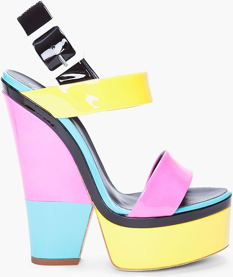 Giuseppe Zanotti Patent Colorblock Sandal in Multicolor (yellow) - Lyst