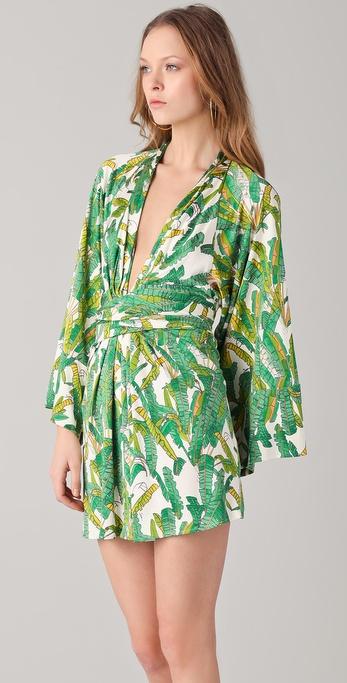 Lyst Issa Print Short Kimono Dress In Green