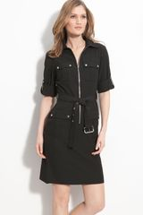 Michael by Michael Kors Roll Sleeve Belted Shirtdress - Lyst