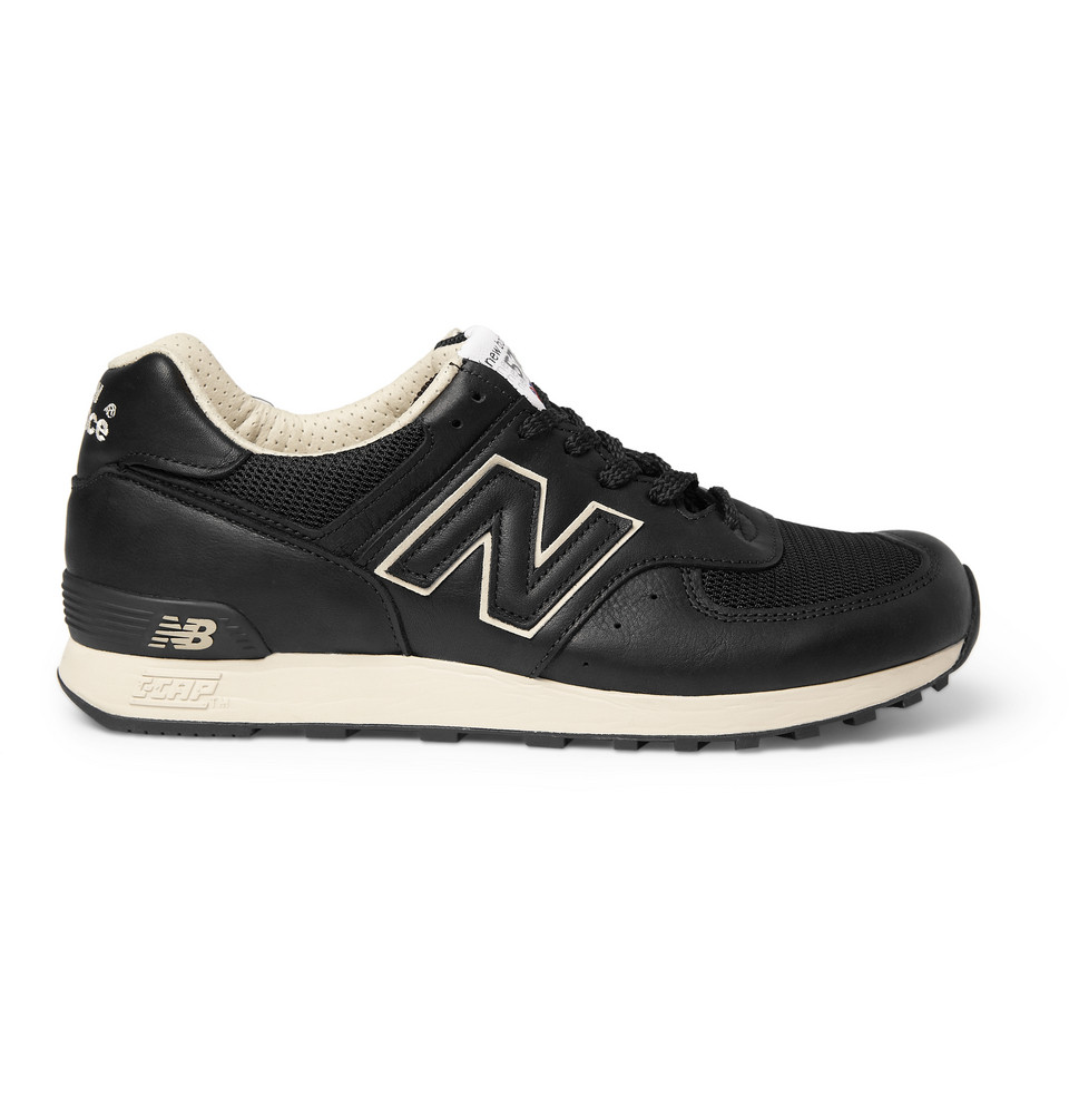 new balance 576 leather and mesh running sneakers in black for men lyst. Black Bedroom Furniture Sets. Home Design Ideas