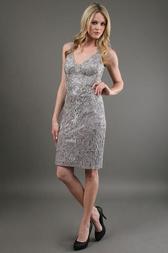 Sue Wong Embroidered Lace Dress in Platinum - Lyst