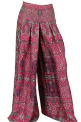 Yves Saint Laurent Habotai Silk Wide Pleated Trousers - Lyst