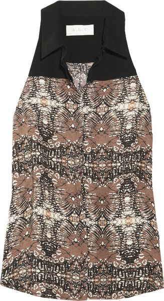 A.l.c. Rhea Printed Silkgeorgette Top in Brown - Lyst