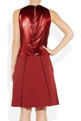 Bottega Veneta Handembellished Plissé Crepe and Satin Dress in Red - Lyst