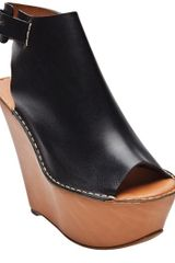Chloé Leather Platform Wedge in Black - Lyst