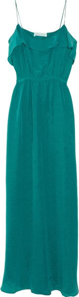 Geren Ford Polkadot Silk Maxi Dress in Blue (teal) - Lyst
