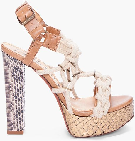 Lanvin Tan Python Cord Heels in Brown (tan)