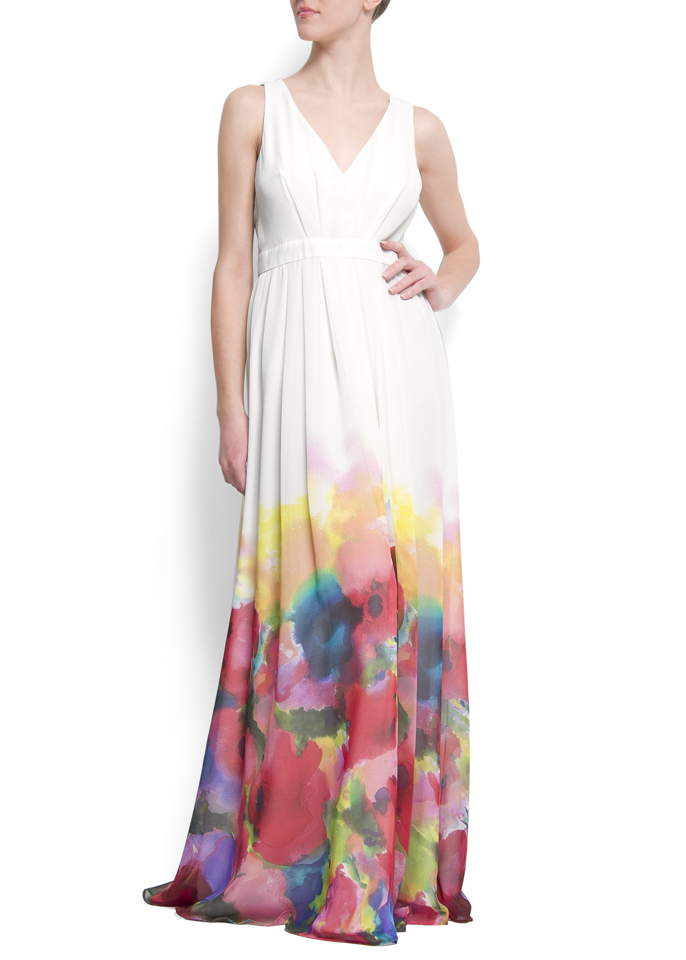 f2af4dab374 Mango Watercolor Flower Maxidress in White - Lyst