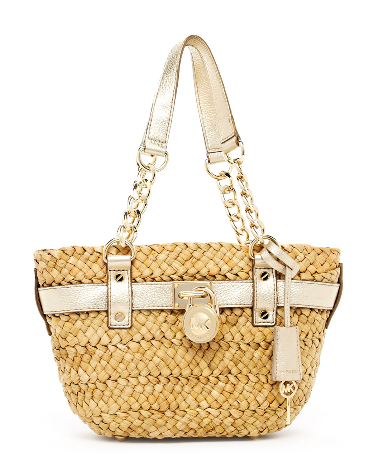 a72f7ec287d98 Lyst - Michael Kors Hamilton Medium Straw Tote Pale Gold in Natural