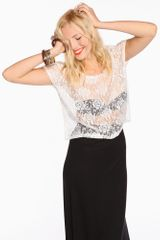 Nasty Gal Lace Box Tee Ivory - Lyst
