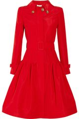 Oscar De La Renta Full Skirted Silk Faille Coat in Red (rose) - Lyst