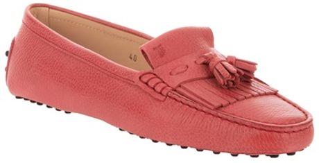 Tod's Fringed Loafer in Pink - Lyst