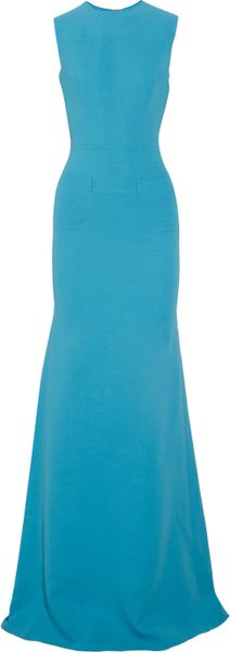 Victoria Beckham Silk and Woolblend Crepe Gown in Blue (turquoise)