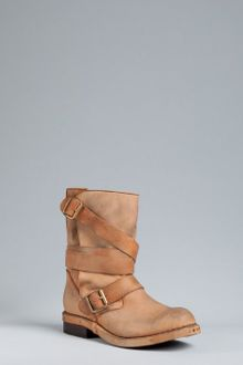Jeffrey Campbell Tan Leather Brit Slouchy Distressed Buckle Boots - Lyst