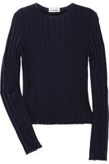 Jil Sander Ribbed Stretch Wool Sweater - Lyst