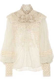 Ralph Lauren Collection Therese Embellished Silktulle Blouse - Lyst