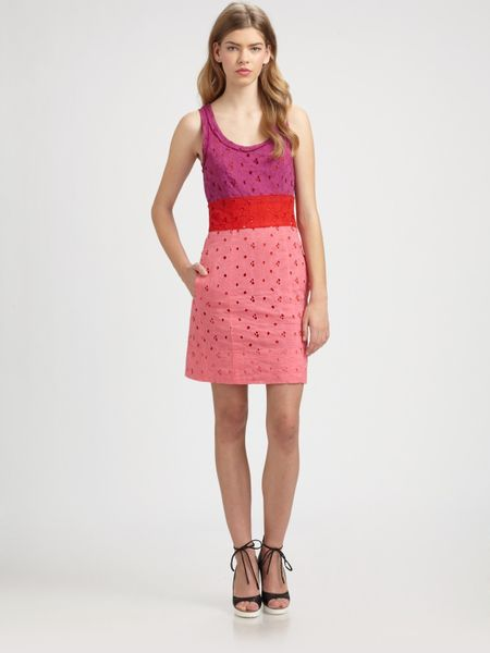 Sonia By Sonia Rykiel Eyelet Colorblock Tank Dress in Pink - Lyst