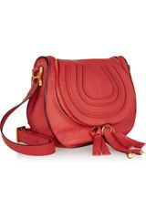 Chloé Marcie Messenger Texturedleather Shoulder Bag in Red - Lyst