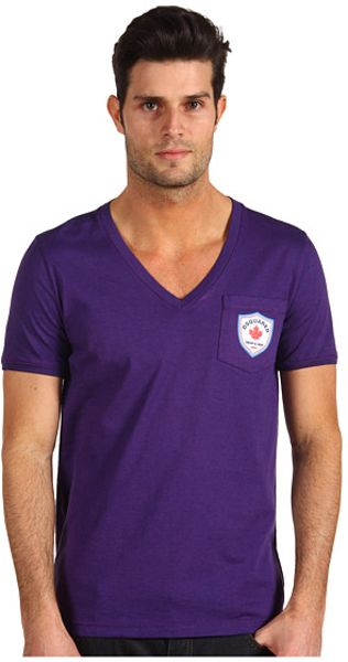 Dsquared2 Classic Fit Fade Dyed Soft Print Vneck Tee in Purple for Men (n) - Lyst
