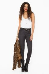 Nasty Gal Second Skin Jeans Faded Black - Lyst