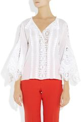 Oscar De La Renta Battenberg Lace and Cottonvoile Blouse in White - Lyst